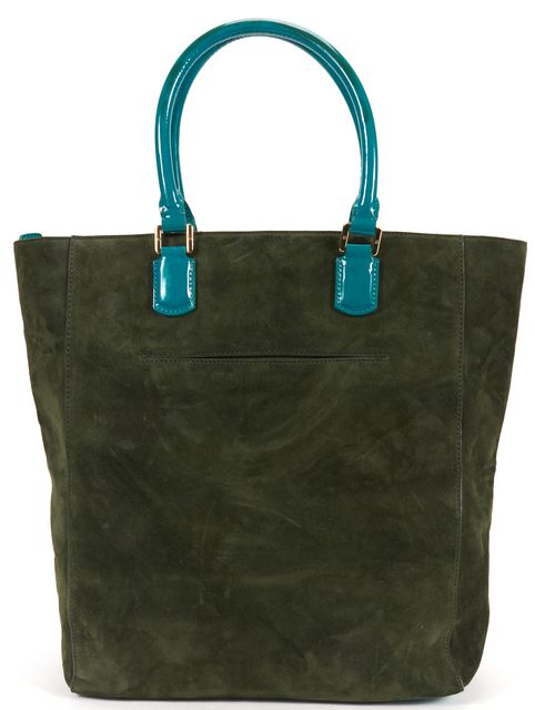 TORY BURCH Green Suede Leather Large Top Handle Tote Bag