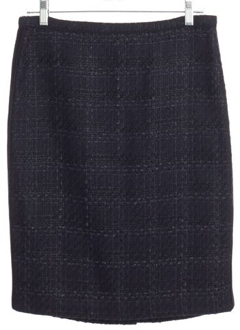 TORY BURCH Navy Blue Metallic Tweed Pencil Skirt Size 6