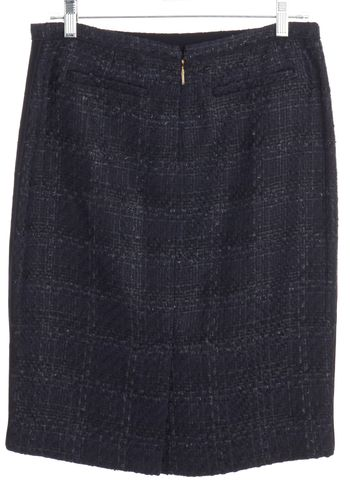 TORY BURCH Navy Blue Metallic Tweed Pencil Skirt