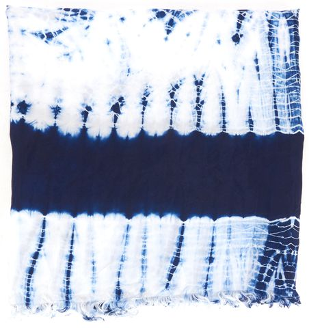 TORY BURCH Blue White Tie Dye Silk Frayed Scarf