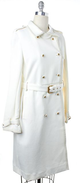 TORY BURCH Ivory Luther Trench Double Breasted Basic Coat
