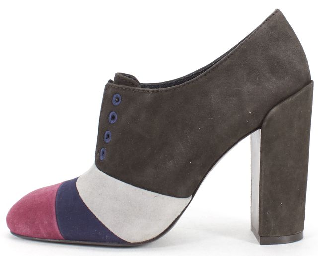 TORY BURCH Gray Multi Color Suede Heeled Ankle Boot