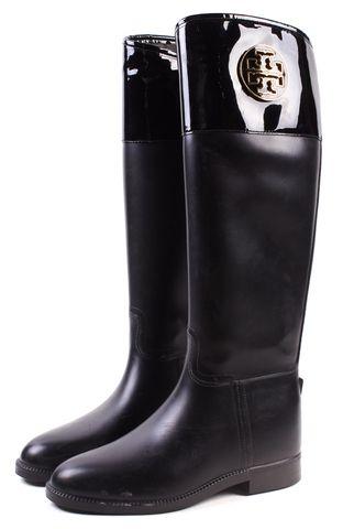 TORY BURCH Black Rubber Patent Trim Rain Boots Size 8