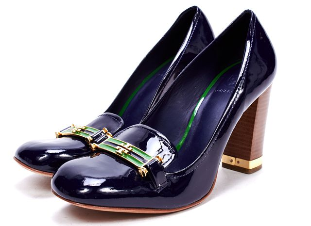 TORY BURCH Navy Blue Patent Leather Loafers Wooden Block Heel Pumps