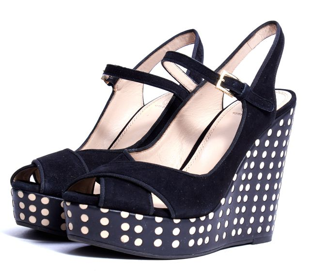TORY BURCH Black Suede Perforated Leather Wedge Heel Ollie Sandals