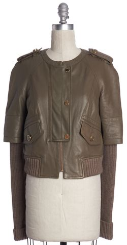 TORY BURCH Olive Leather Wool Combo Jacket Size XS