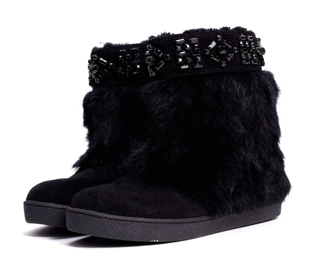 TORY BURCH Black Rabbit Fur Suede Round-toe Embellished Ankle Boots
