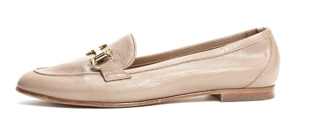 SALVATORE FERRAGAMO Tan Brown Leather Gold Loafers