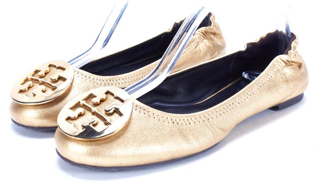 TORY BURCH Gold Leather Ballet Flat