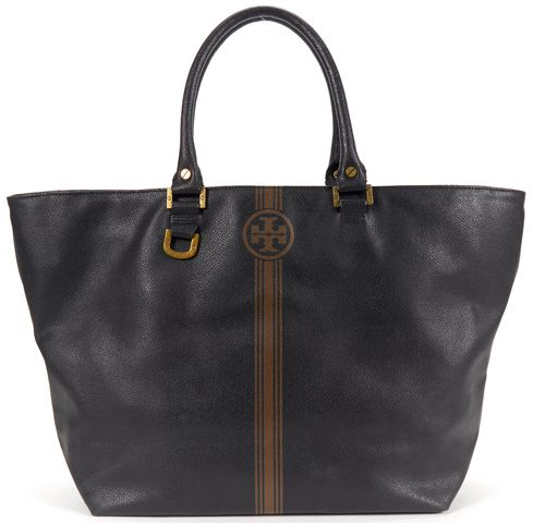 TORY BURCH Authentic Black Brown Coated Canvas Tote Shoulder Bag