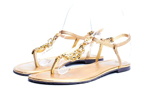 TORY BURCH Gold Leather Chain Detail T-Strap Sandals