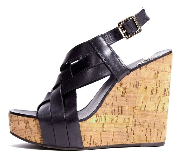 TORY BURCH Black Woven Leather Cork Sandal Wedges