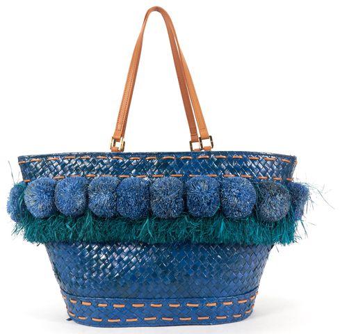 TORY BURCH Blue Beachy Norah Bucket Large Straw Pom-Pom Tote