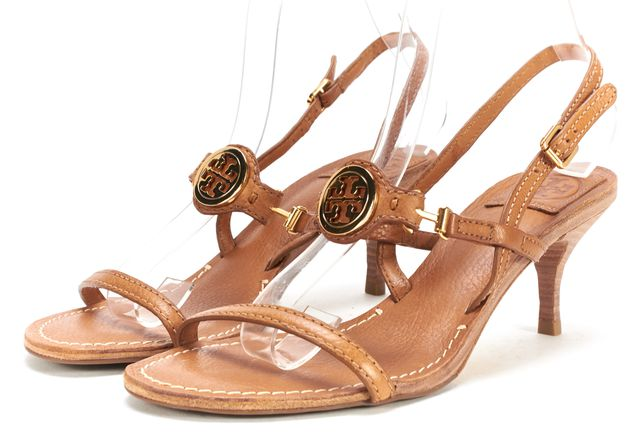 TORY BURCH Cognac Brown Low Heel Logo Ankle Strap Leather Sandal