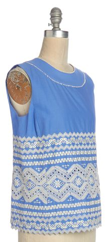 TORY BURCH Blue White Embroidered Cotton Sleeveless Shirt Top