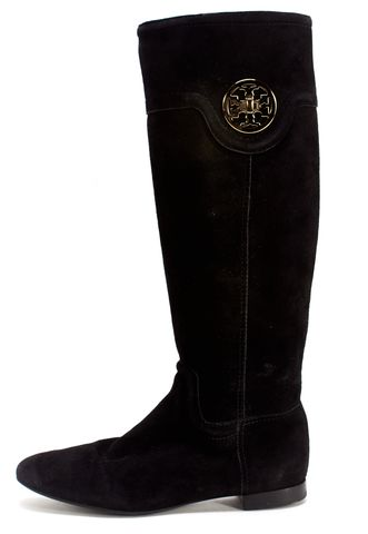 TORY BURCH Black Suede Gold Turn Lock Logo Flat Knee High Boots