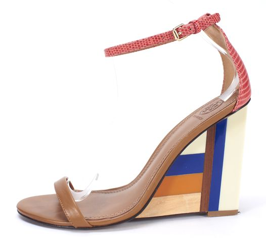 TORY BURCH Brown Blue Multi Ankle Strap Wedges Size 8.5