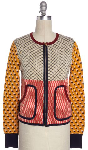 TORY BURCH Multi-color Geometric Pattern Knit Jacket Size XS