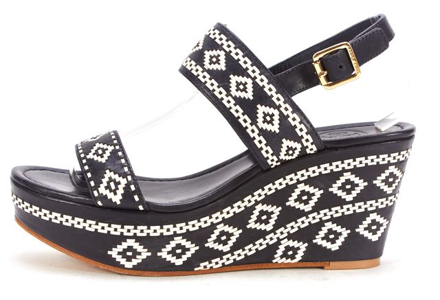 TORY BURCH Navy White Woven Leather Wedge Sandals