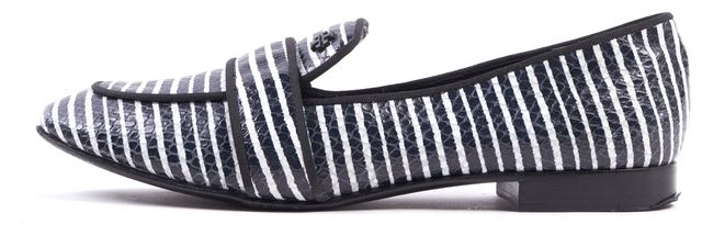 TORY BURCH Navy Blue White Striped Embossed Leather Loafers Flats