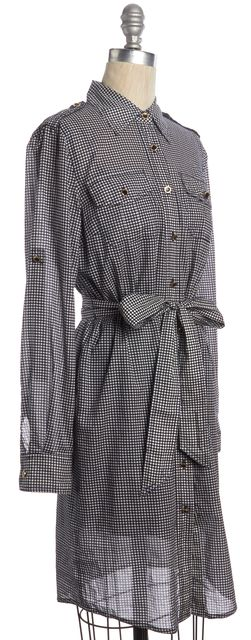 TORY BURCH Blue Ivory Casual Polka Dot Belted Button Down Shirt Dress