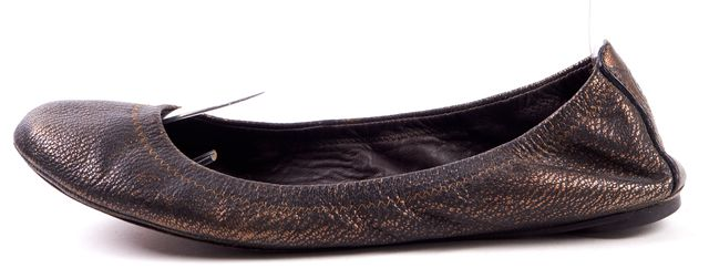 TORY BURCH Bronze Brushed Leather Ballet Flats