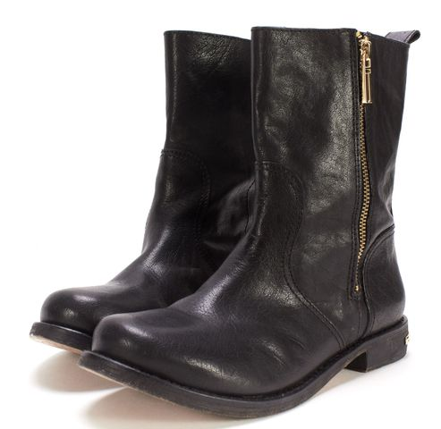 TORY BURCH Black Leather Round Toe Mid-Calf Boots