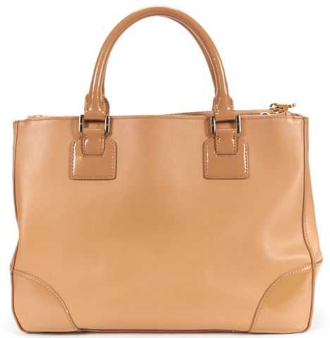 TORY BURCH Tan Brown Textured Leather Crossbody Top Handle Bag