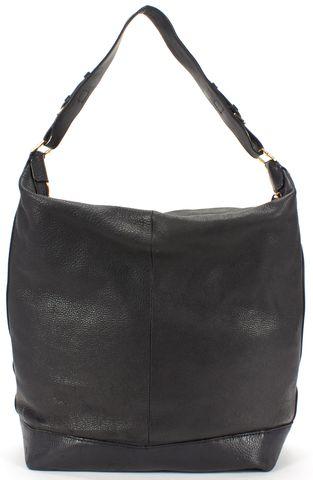 TORY BURCH Black Pebbled Leather Large Hobo Shoulder Bag