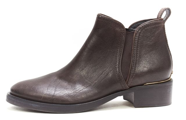 TORY BURCH Brown Leather Gold Logo Detail Round-toe Chelsea Boots