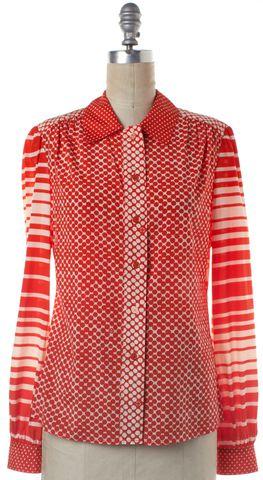TORY BURCH Orange White Geometric Polka Dot Button Down Shirt