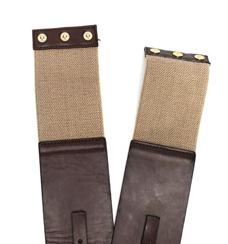 TORY BURCH Brown Leather Canvas Buckle Detail Belt