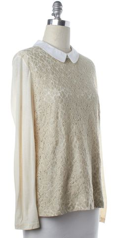 TORY BURCH Beige White Floral Long Sleeve Top