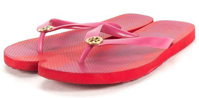 TORY BURCH Royal FushiaPink Lace Printed Flip Flop Sandals