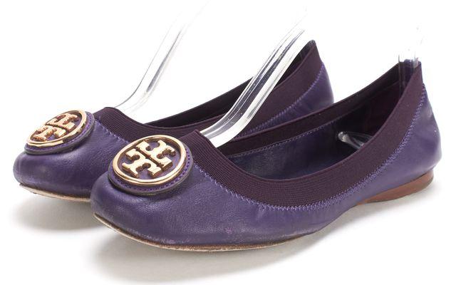 TORY BURCH Purple Leather Elastic Caroline 2 Ballet Flats