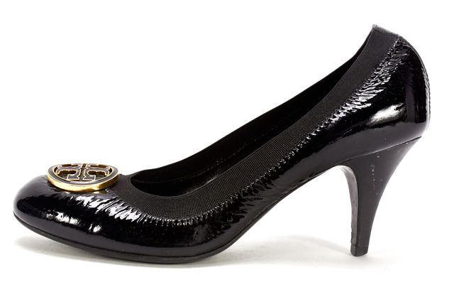 TORY BURCH Black Patent Leather Coraline Mid Heel Pumps