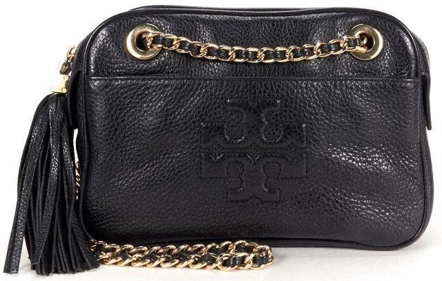 TORY BURCH Black Pebbled Leather Tassel Detail Shoulder Bag