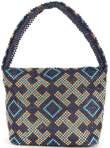 TORY BURCH Blue Multicolor Wood Bead Single Strap Shoulder Bag