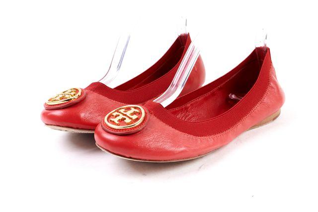 TORY BURCH Red Leather Caroline Elastic Ballet Flats