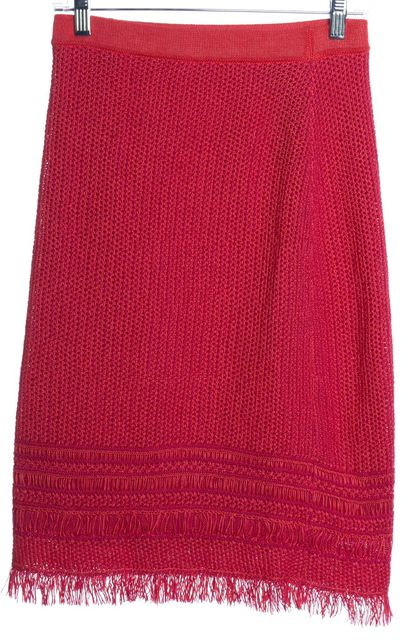 TORY BURCH Pink Orange Tweed Fringe Pencil Skirt