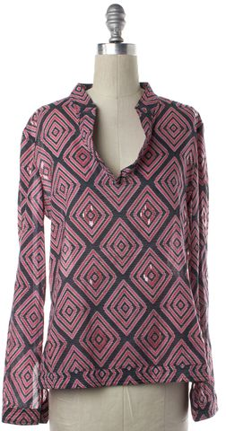 TORY BURCH Black Pink Geo Print Sequin Embellished Blouse