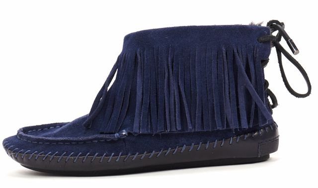 TORY BURCH Navy Suede Leather Fringe Moccasins Ankle Boots