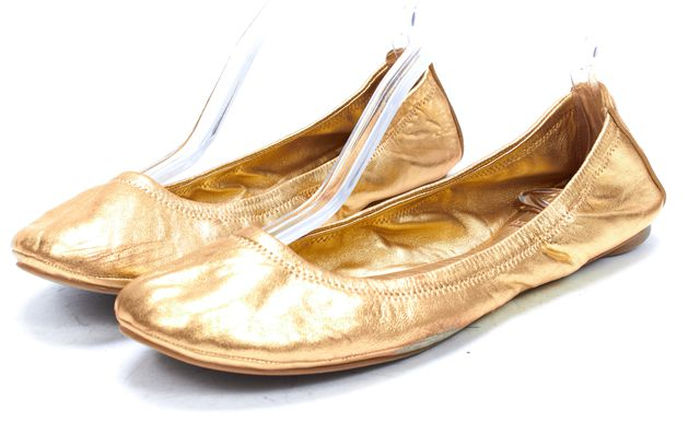 "TORY BURCH Gold Leather ""Edide"" Ballet Flat"