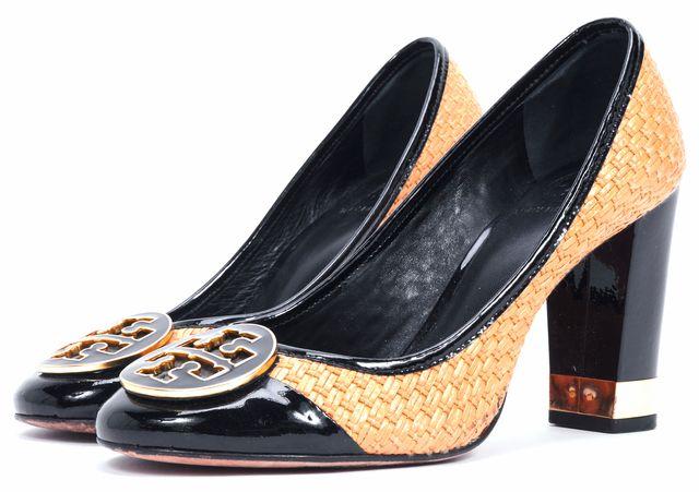 TORY BURCH Brown Woven Raffia Black Patent Leather Pumps