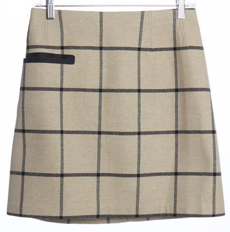 TORY BURCH Beige Black Plaid & Check A-Line Skirt