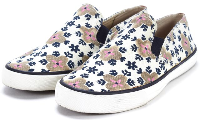 TORY BURCH White Beige Blue Floral Canvas Slip On Sneakers