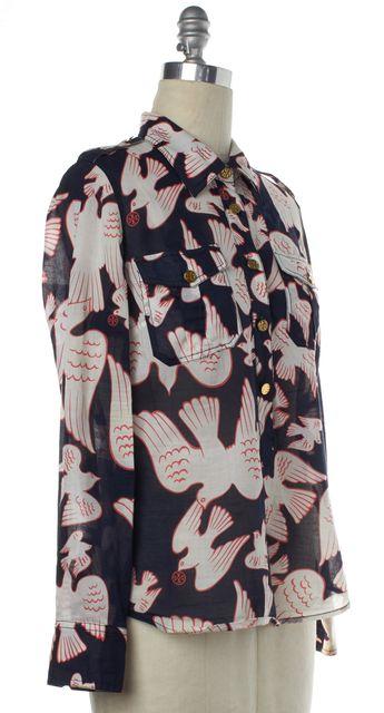 TORY BURCH Blue Pink Bird Print Button Up Blouse