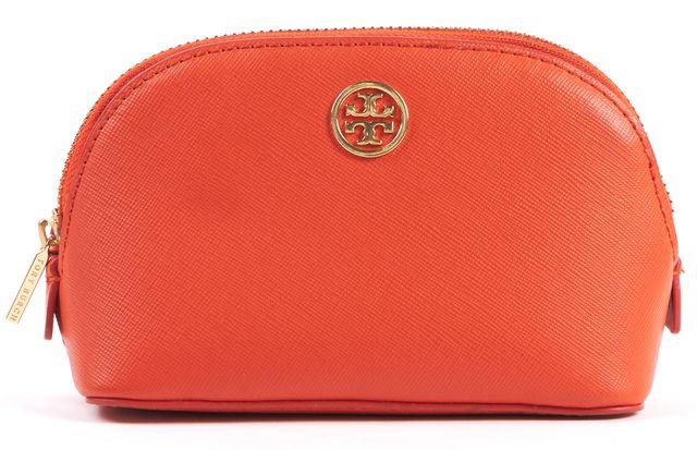 TORY BURCH Orange Saffiano Leather Gold Zip Pouch Bag