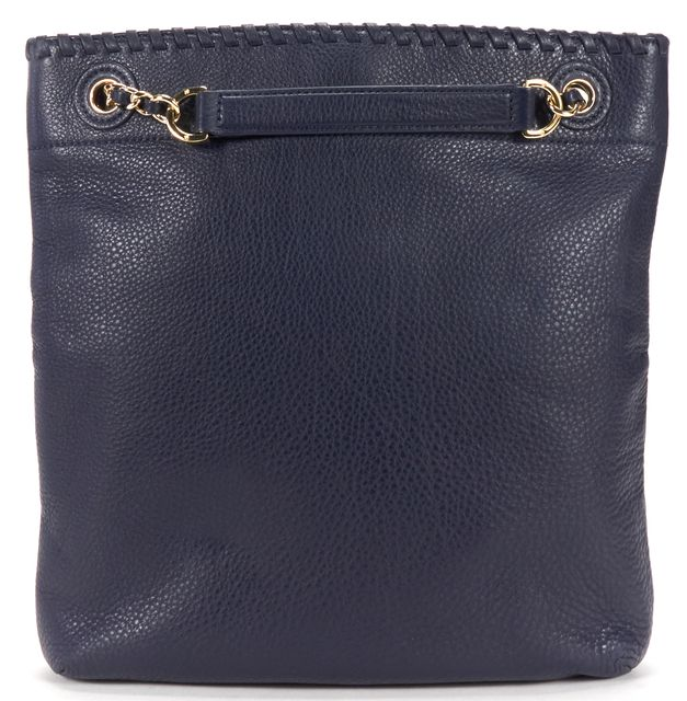TORY BURCH Navy Pebbled Leather Chain Shoulder Tote Bag