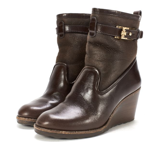 TORY BURCH Brown Leather Shearling Lined Wooden Heel Wedge Ankle Boots